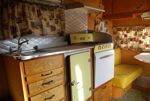 vintage camper yellow