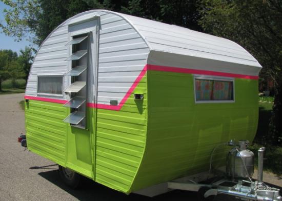 Neon Green Vintage camper