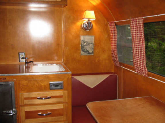 Vintage camper with a wooden interior
